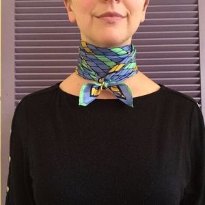 Vintage Japanese Blue Green Acetate Square Scarf